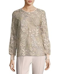 Elie Tahari Val Soft Bouquet Embroidered Top Pastel Multi