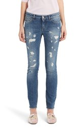 Dolce And Gabbana Women's Ripped Skinny Jeans Denim