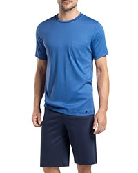 Hanro Sergio Short Sleeve Lounge Shirt Blue