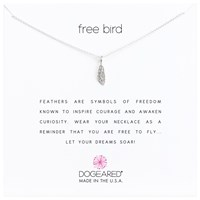 Dogeared Sterling Silver Free Bird Open Feather Chain Necklace Silver