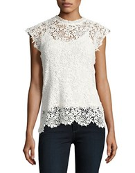 Velvet By Graham And Spencer Cap Sleeved Scalloped Lace Top White