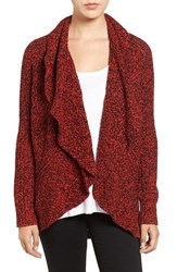 Chaus Women's Cable Stitch Drape Front Cardigan Carmine Black