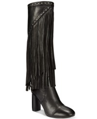 Inc International Concepts Women's Tolla Tall Fringe Boots Only At Macy's Women's Shoes Black