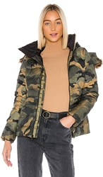 The North Face Gotham Jacket Ii With Faux Fur Trim In Green. Burnt Olive Green Waxed Camo Print