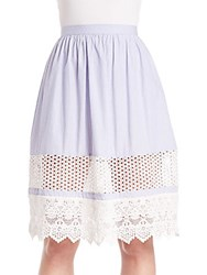 French Connection Lace Trimmed Mesh Inset Skirt Blue