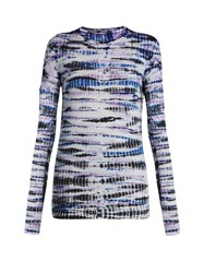 Proenza Schouler Long Sleeved Cotton Tie Dye T Shirt Blue Print