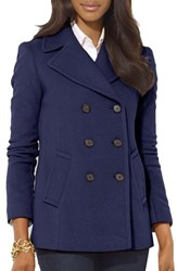 Lauren Ralph Lauren Women's Double Breasted Wool Blend Peacoat New Regal Navy