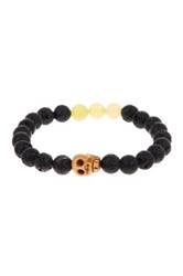 Jean Claude Black Lava Stone Yellow Jade And Natural Bone Beaded Stretch Bracelet Multi