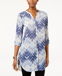 Jm Collection Zigzag Print Roll Tab Tunic Only At Macy's Flaming Ombre Indigo