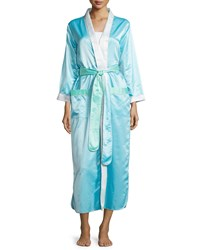 Louis At Home Monte Carlo Satin Long Robe Aqua White Blue White Women's