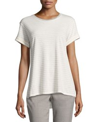 Vince Rolled Sleeve Speed Stitch Tee White Gray
