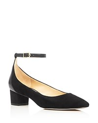 Sam Edelman Lola Ankle Strap Low Heel Pumps Black