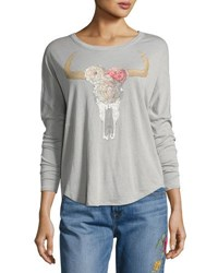 Chaser Floral Cow Skull Dolman Sleeve Top Gray