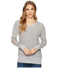 Allen Allen Box Thermal Lace Patch Crew Pale Grey Women's Clothing Gray