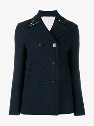 Valentino Studded Virgin Wool Pea Coat Navy Navy Blue Denim