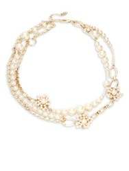 Miriam Haskell Faux Pearl Multi Strand Necklace