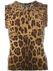 Dolce And Gabbana Leopard Intarsia Vest Brown