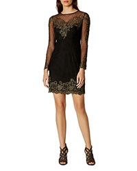 Karen Millen Embroidered Lace And Mesh Dress Black Multi