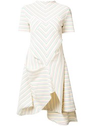 J.W.Anderson Multi Stripe Asymmetric Dress Women Cotton S White