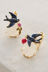 Les Nereides Birdsong Earrings Black Motif