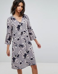 Soaked In Luxury 3 4 Sleeve Floral Shift Dress Grey