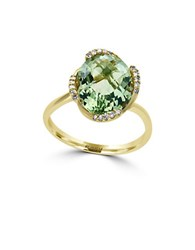 Effy Diamonds Green Amethyst And 14K Yellow Gold Ring
