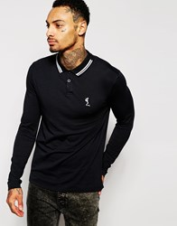 Religion Long Sleeve Polo Shirt With Tipped Collar Black