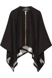 Burberry Asymmetric Merino Wool Poncho Black