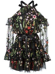Alexis Floral Embroidery Sheer Dress Black
