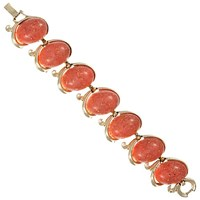 Eclectica Vintage 1950S Gold Plated Oval Confetti Lucite Cabochon Bracelet Gold Coral