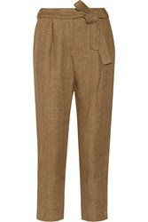 Maje Linen Tapered Pants Brown