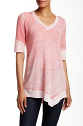 Cullen Elbow Sleeve Waffle V Linen Blend Tunic Pink