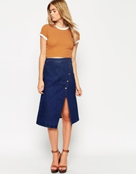 Asos Denim Wrap Midi Skirt With Poppers Indigo