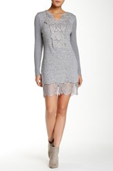 Lulu Embroidered Front Lace Hem Long Sleeve Sweater Gray