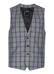 Topman Mid Grey Grey And Blue Check Skinny Fit Suit Waistcoat