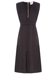 Maison Rabih Kayrouz V Neck Silk Charmeuse Dress Black