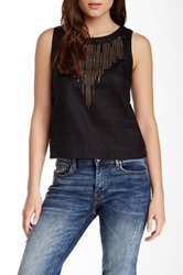 Search For Sanity Studded Yoke Linen Shell Blouse Black
