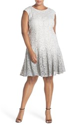 Chetta B Plus Size Women's Ombre Shimmer Lace Fit And Flare Dress