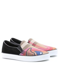 Burberry Canvas And Suede Sneakers Multicoloured