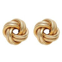 Nina B 9Ct Yellow Gold Knot Stud Earrings Gold