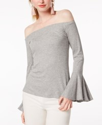 Bar Iii Off The Shoulder Top Created For Macy's Heather Grey