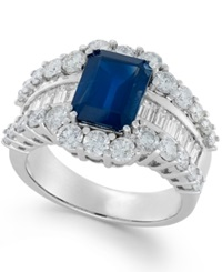 Macy's Sapphire 3 5 8 Ct. T.W. And Diamond 2 Ct. T.W. Ring In 14K White Gold