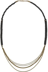 Isabel Marant Kutztown Brass And Braided Leather Bracelet Black