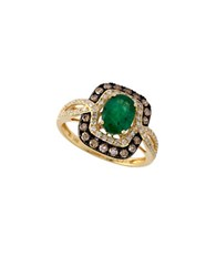 Bh Multi Color Corp. Brasilica 0.56 Tcw Diamond Espresso Diamond And Emerald 14K Gold Ring