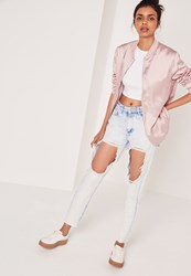 Missguided High Rise Open Leg Skinny Jeans Bleached Blue Blue