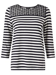 Gerry Weber Lace Detail Stripe Jersey Top Navy White