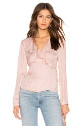 1.State Ruffle Wrap Top Pink