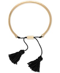 Rachel Roy Gold Tone And Tassel Slider Bracelet Blue
