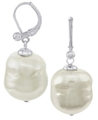 Majorica Pearl Earrings Sterling Silver Baroque Organic Man Made Pearl Drop