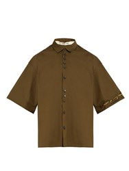 Damir Doma Sol Short Sleeved Box Cut Cotton Shirt Khaki